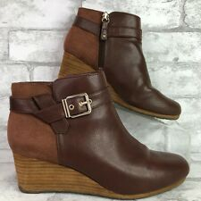 Dr Scholls 7M Ankle Bootie Brown Faux Leather Round Toe Wedge Heel Zip Darcy