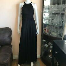 NWT Ella Moss Black Halter Maxi Dress Stretch Sleeveless Long Size XS