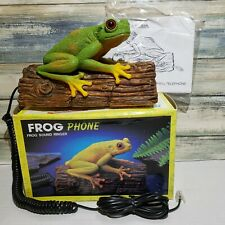Vintage Telemania Croaking TREE FROG TELEPHONE on Log Push Button Phone