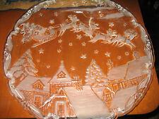 "Vtg Mikasa Santa Scene Frosted Serving Platter Christmas Village 15 1/2"" Round"