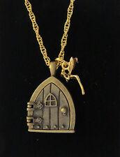 Gothic Fairy Door Tinkerbell Wish Necklace 24 Karat Gold Plate & Antiqued Brass