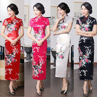 BG_ Chinese Women Flower & Peacock Printed Long Cheongsam Qipao Evening Dress Si