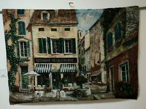 "ART IN MOTION TAPESTRY  Wall Hanging RESTAURANT DE LA COLONNE 66"" x 47"" USA"