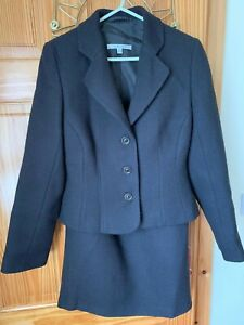 LK Bennett wool suit set blazer size 10 skirt size 8 very dark brown