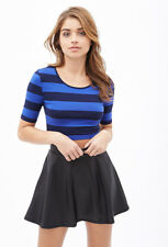 NWT FOREVER 21 Striped Scoop Neck Stretch Fitted Knit Crop Top T Shirt Blouse M