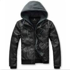 Chic Men's Removable Hoddie Slim Fit Motorcycle Hoodies PU Leather Jackets Coat