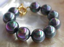 Genuine 8/10/12/14/mm Rainbow BLack Round South Sea Shell Pearl Bangle Bracelet