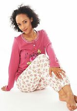 Damen Langarm Pyjama Schlafanzug (DW901) Gr. 44-46 Baumwolle Jersey