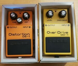 Boss OD-1 Overdrive Guitar Pedal (1981) MIJ and Boss DS-1 Distortion (1980) MIJ