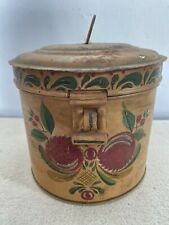 Antique metal tin toleware hand painted 2 nesting canisters set hinged lids