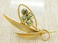 Yellow Rhinestone Flower Gold Tone Pin Brooch Vintage