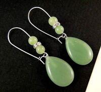 Green Aventurine Tear Drop Gemstone Dangle Earrings with Gemstone Beads #1471