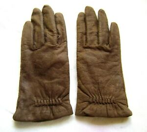 Womens Genuine Nappa Brown Sheepskin Leather Lined Gloves Large
