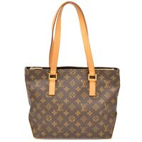 Authentic Louis Vuitton Monogram Shoulder Tote Hand Bag Purse Brown Cabas Piano