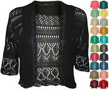 New Womens Crochet Knitted Short Sleeve Ladies Bolero Cardigan Top Shrug