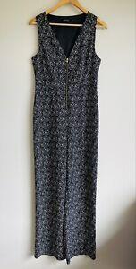 Portmans Jumpsuit Size 10 Black White Print 1/2 Zip Front