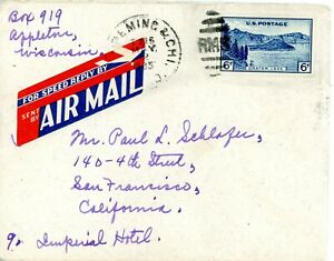 USA  761 IMPERF ON COVER WITH RPO CANCEL AND AIR MAIL LABEL