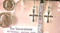 "Easter cross with sash & heart earrings Rhodium*Nickel free* 1 1/2"" dangle hooks"