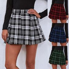 Womens Sexy Pleated Plaid Mini Skirt Ladies High Waist Check A Line Short Skirts