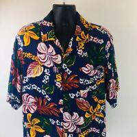 Vtg OP Ocean Pacific Hawaiian Men's Shirt Blue Floral Wood-like Buttons Sz XL