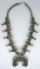 """Vintage Old Pawn Navajo Sterling Silver Turquoise Squash Blossom 25"""" Necklace"""