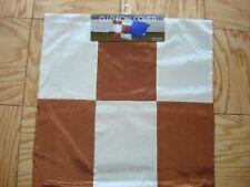 "Decorative pillow cover brown cream square patchwork design new 17 x 17"""