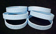 Light Blue Awareness Bracelets Lot of 6 Scleroderma Silicone Wristband IMPERFECT