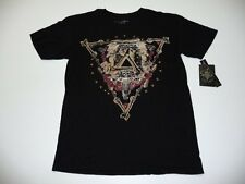 Affliction Mens Size 2XL Black For Bound Glory Brass Metal Sequin T-Shirt New