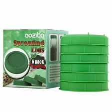 [UPGRADE VERSION]Aozita 6 Pack Plastic Sprouting Lids for Wide Mouth Mason Jars