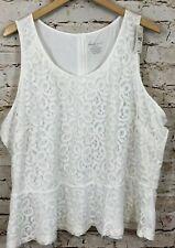 Lane Bryant tank top womens 22/24W lace overlay peplum hem new sleeveless S1