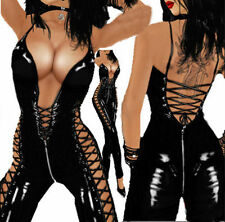 Black PVC Leather Sexy Wet Look Catsuit Goth Lady Up Open Bust Rompers Jumpsuits