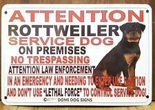 "Metal Attention Service Rottweiler Sign For FENCE ,Beware Of Dog 8""x12"" Rotti"