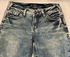SILVER Women's SUKI MID SKINNY Stretch ACID WASH Denim Jeans - 30/31