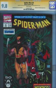 CGC SS 9.8 SPIDER-MAN #9 1991 SIGNED STAN LEE & TODD MCFARLANE & HERB TRIMPE