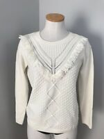 Talbots Sweater Women Cable Knit Ivory Long Sleeve Fringe Wool Crew Neck Small
