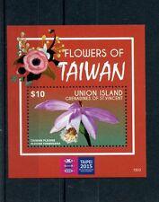 Union Island grenadines st vincent 2015 Gomma integra, non linguellato Fiori di Taiwan 1v S/S Taipei exhb