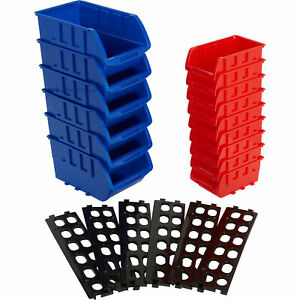 Stackable Storage Bins — 15-Pc. Set, Red/Blue, 15.1in. x 10.8in. x 8.8in.
