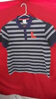 Lacoste Mens Polo Shirt Size 8 Striped blue big L polo rugby