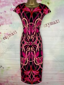 TED BAKER 'ANTA' VIBRANT PINK/BLACK/BLUSH  MIX PRINT PENCIL DRESS SIZE 3 UK 12