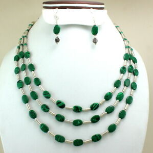 Gemstone Necklace Earrings Natural Malachite Gemstone Handmade Beaded Jewelry