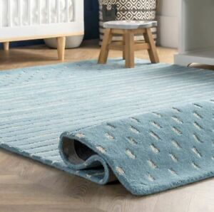 Morse Awining Stripes Baby Blue Hand-Tufted 100% Wool Soft Area Rug Carpet