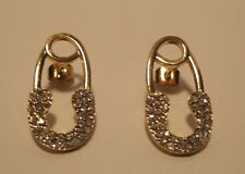 Earrings Rhinestone Safety Pins New Mother Baby Gold Hypoallergenic Post NWT L91
