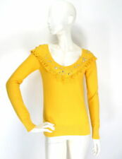 Sonia Rykiel H&M Top Blouse Yellow Cotton Jumper Sweater Rhinestones size S UK 8