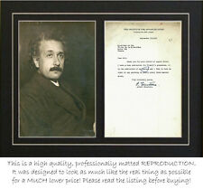 Albert Einstein signed letter (autograph) and photograph- PROFESSIONALLY MATTED