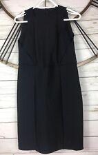 Zara W&B Little Black Sheath Dress Womens L Sleeveless Textured Striped Back Zip