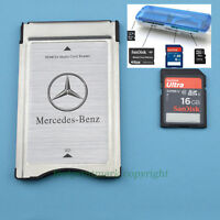 PCMCIA TO SD SDHC CARD Adapter for Mercedes-Benz+SanDisk 16GUltra HD Card+Reader