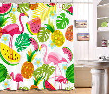 Tropical Fruits Palm Leaves Flamingo Pineapple Shower Curtain Waterproof 72X72''