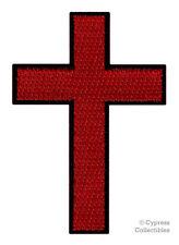 RED BLACK CROSS iron-on PATCH embroidered CHRISTIAN BIKER EMBLEM CRUCIFIX