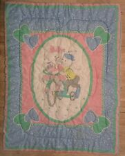 Vtg Baby Comforter Blanket Quilt Bunny Rabbits Tricycle Hearts Green Blue Pink