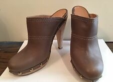 Women's Designer MAX MARA Brown/ Taupe Leather Platform Mules Size 40 Italy